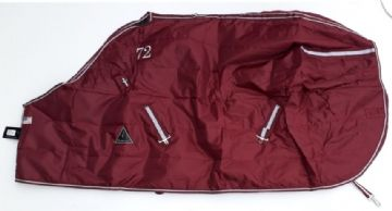 QH Closed Front Stable Blanket Rug - 100g Filling Burgundy & Chocolate